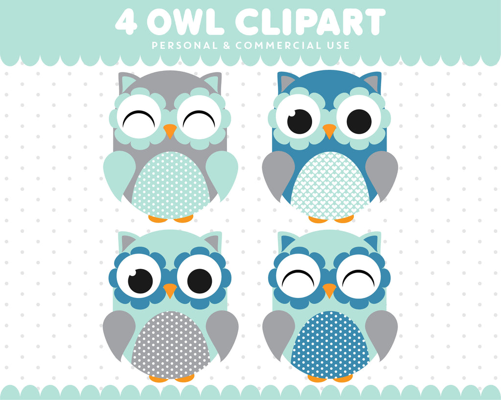 Blue Turquoise Owl Clipart Graphics Digital Scrapbooking Commercial Use, SUPO-08