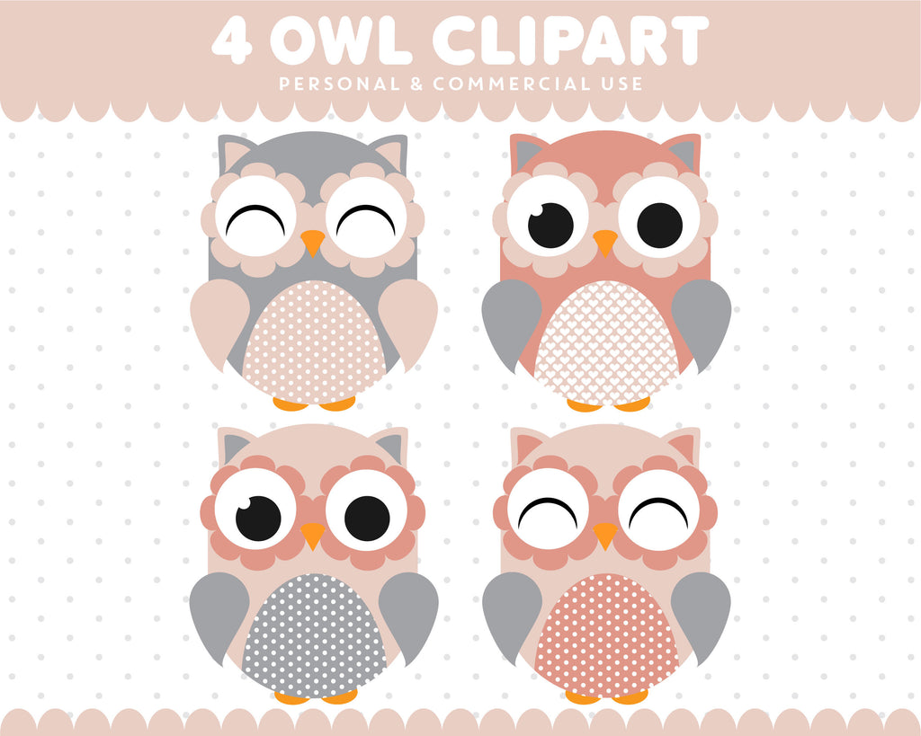 Rose Pink Grey Owl Clipart Graphics Digital Scrapbooking Commercial Use, SUPO-11
