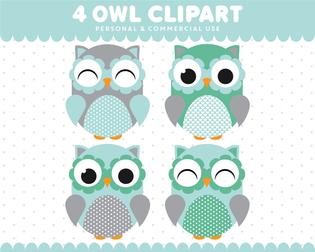 Green Turquoise Owl Clipart Graphics Digital Scrapbooking Commercial Use, SUPO-09