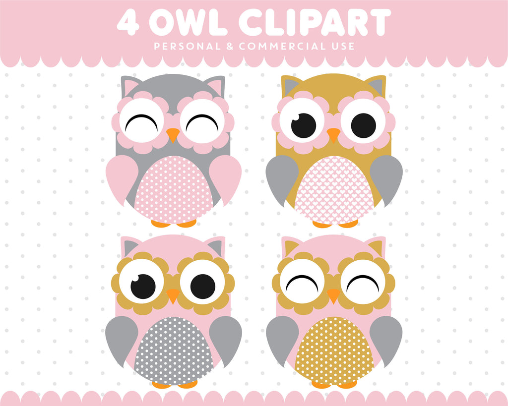 Pink Dark Yellow Owl Clipart Graphics Digital Scrapbooking Commercial Use, SUPO-05