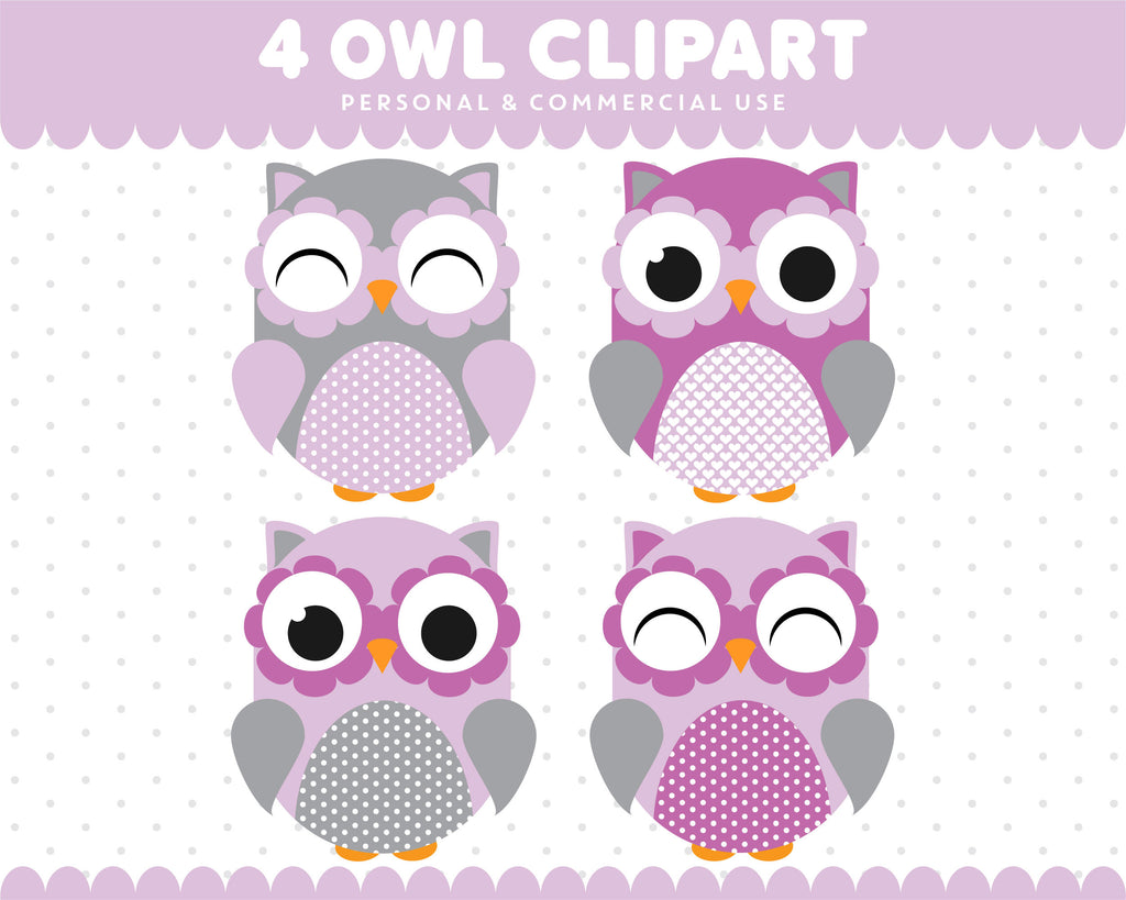 Purple Grey Owl Clipart Graphics Digital Scrapbooking Commercial Use, SUPO-03