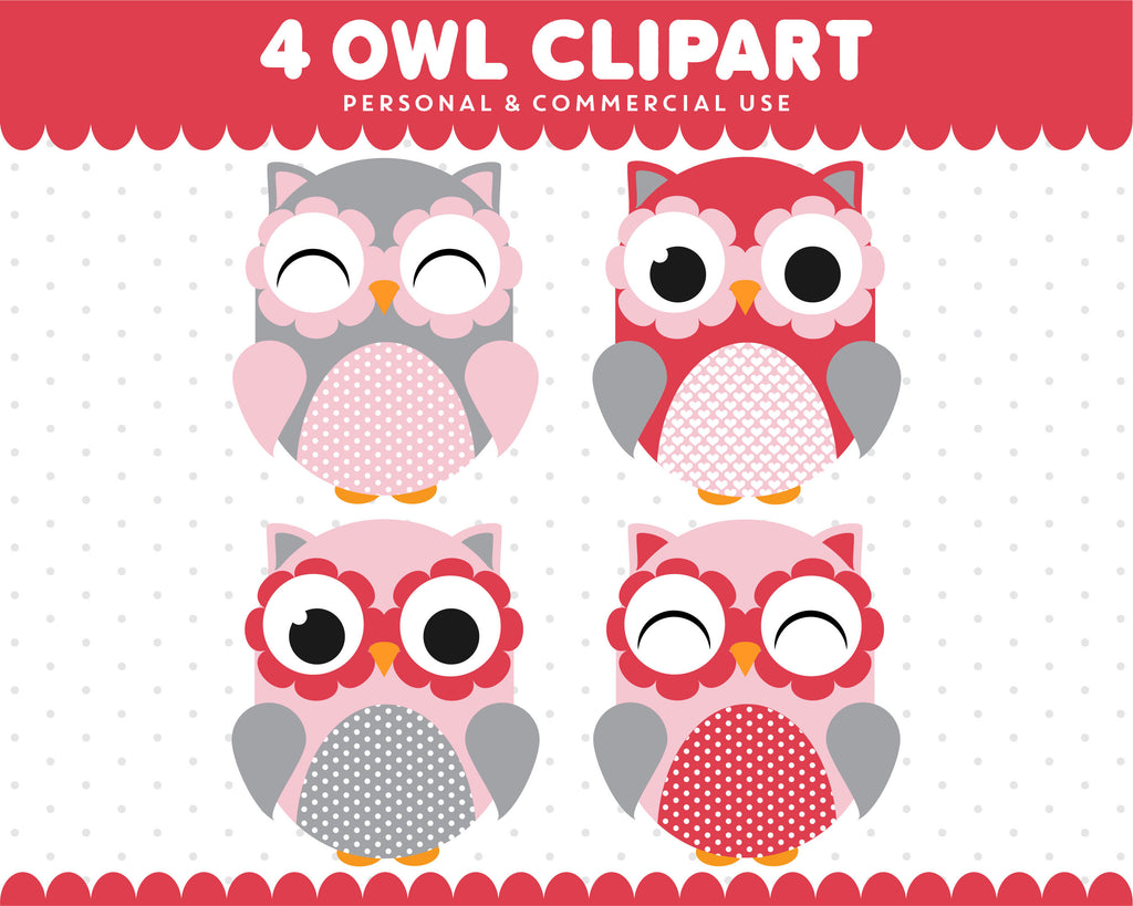 Red Grey Pink Owl Clipart Graphics Digital Scrapbooking Commercial Use, SUPO-07