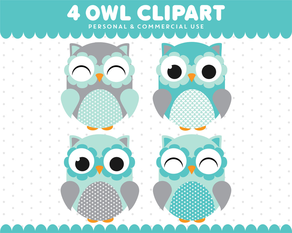 Turquoise Grey Owl Clipart Graphics Digital Scrapbooking Commercial Use, SUPO-01