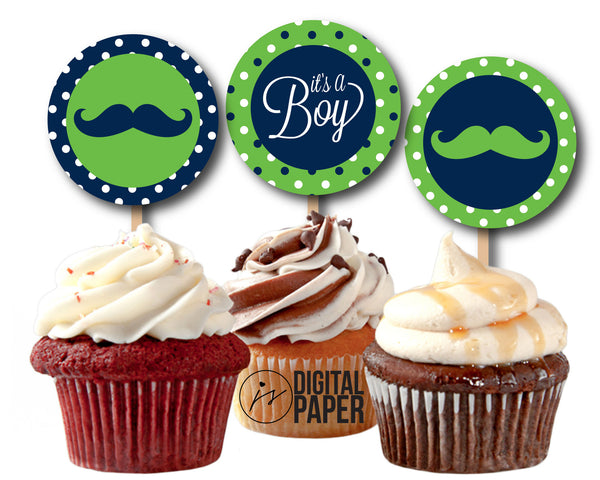 Green Blue baby shower cupcake toppers, Green Mustache cupcake toppers, Mustache Baby Shower, BY8-02