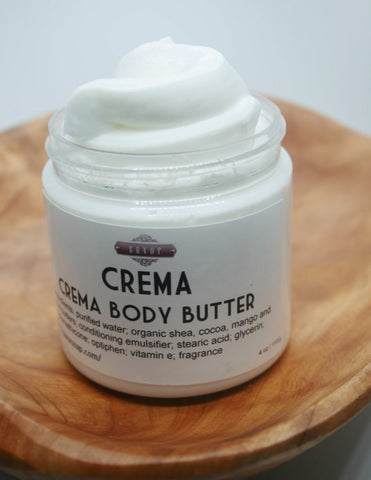 Crema Body Butter with Organic Shea and Cocoa Butters 4 oz Jar