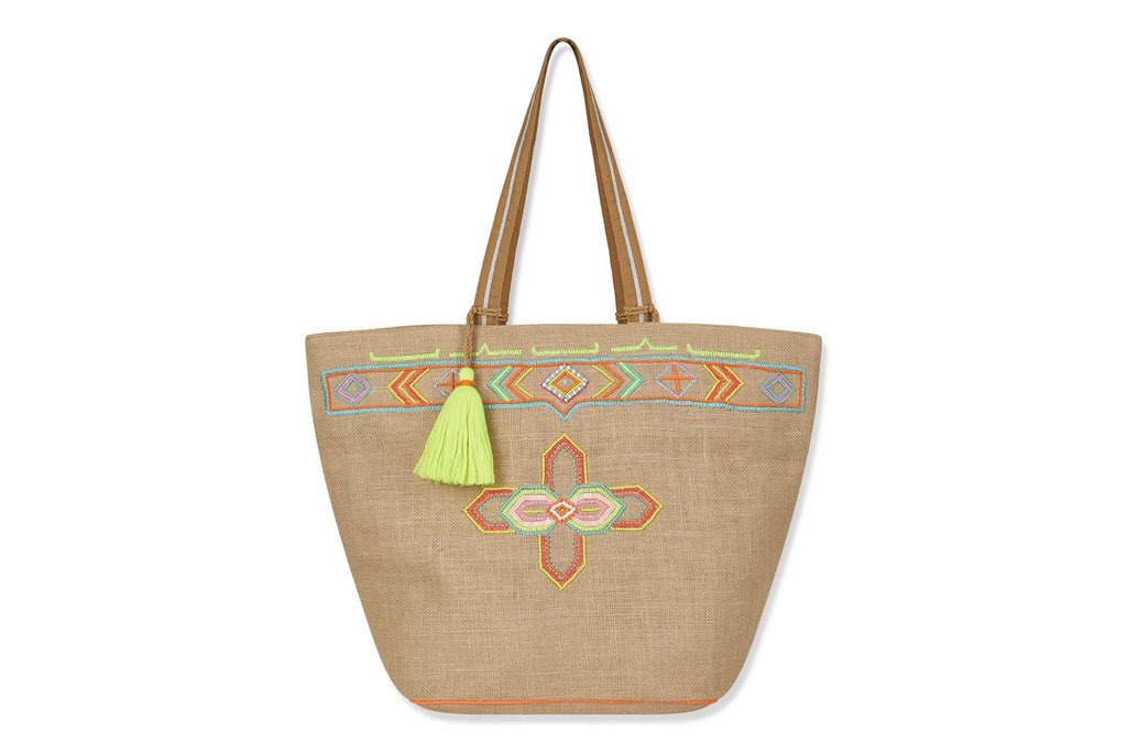 Large linen beach bag with fluoro bead design and yellow tassel