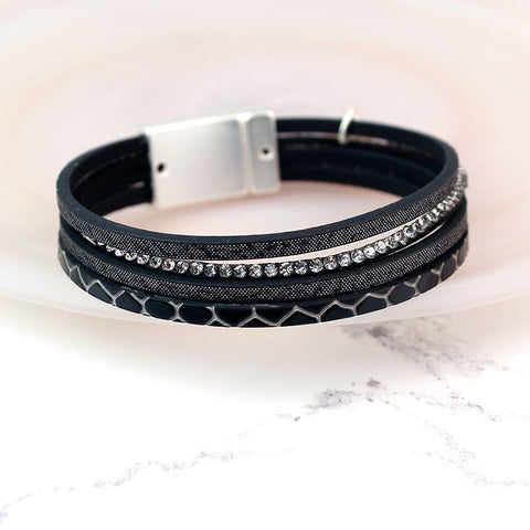 Black Leather and Crystal Bracelet
