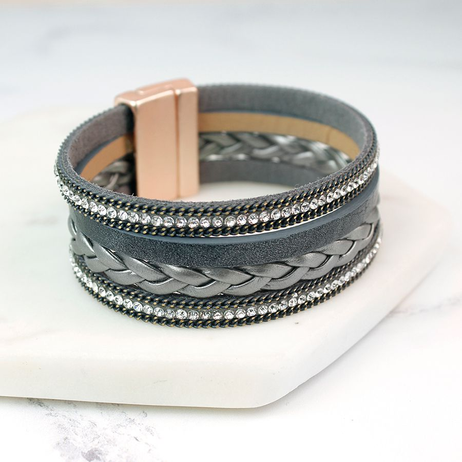 Grey Leather Plait And Crystal Bracelet