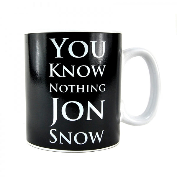 Black ceramic mug with you know nothing jon snow writing