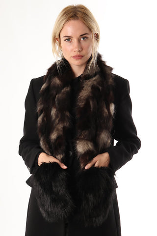 Faux Fur Stole In Jackal And Black