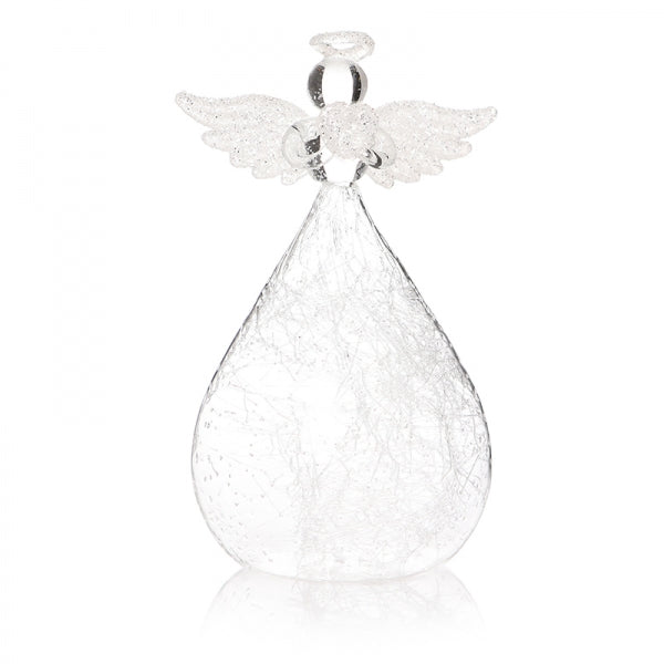 Glass angel bauble with round base and halo and glitter