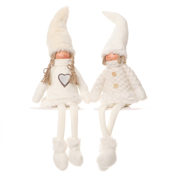 Two sitting dolls with cream pointy hats, jumpers, tights, boots and heart or buttons on jumpers