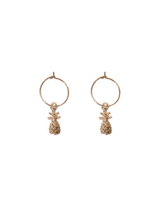 Gold hoop earrings with gold pineapple charms