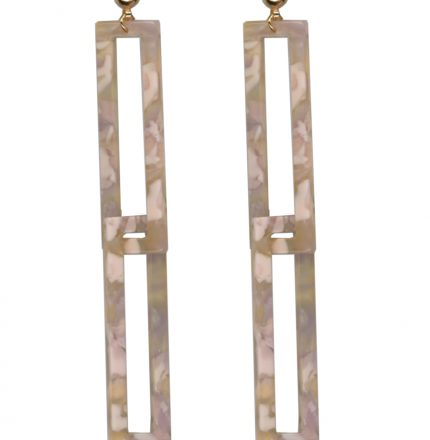 Pink mottled resin earrings with two long rectangles interlinked