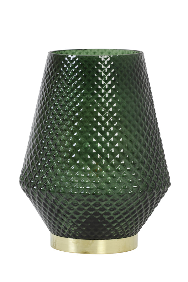 Dark green textured art deco glass battery operated table lamp with gold base