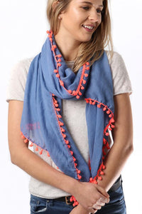 Blue lightweight scarf with neon pink pompoms