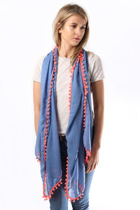 Navy Blue Scarf With Neon Pink Pom Poms