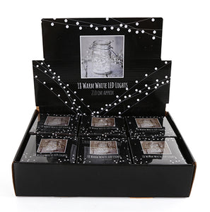 Warm white battery operated fairy lights in black packaging