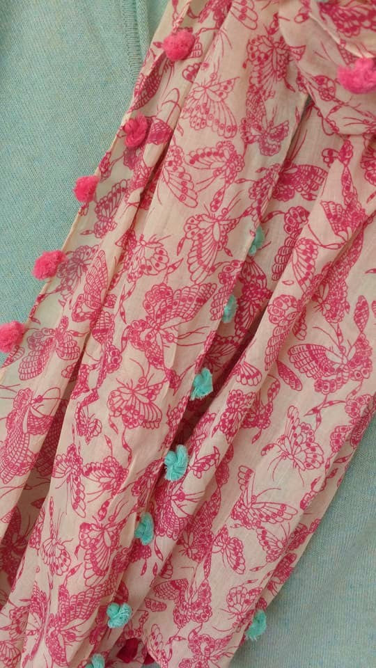 Pink Butterfly Vintage Scarf