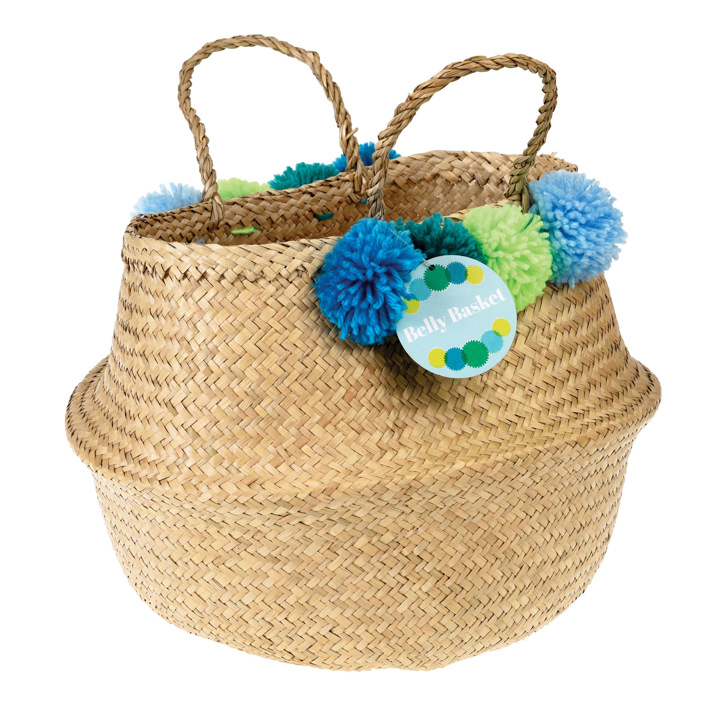 Basket with blue and green pompoms and handles