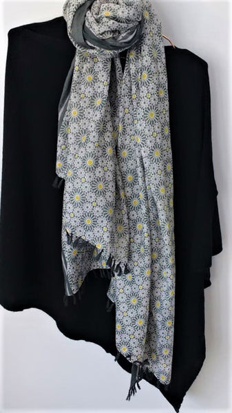 Grey And Yellow Flower Print Scarf
