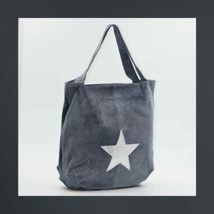 Blue grey suede shoulder bag with silver star on front