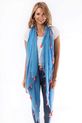 Blue Scarf/Sarong With Neon Tassels
