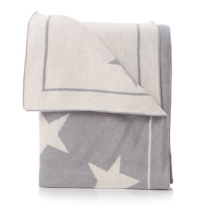 Grey and white cotton baby blanket with star pattern