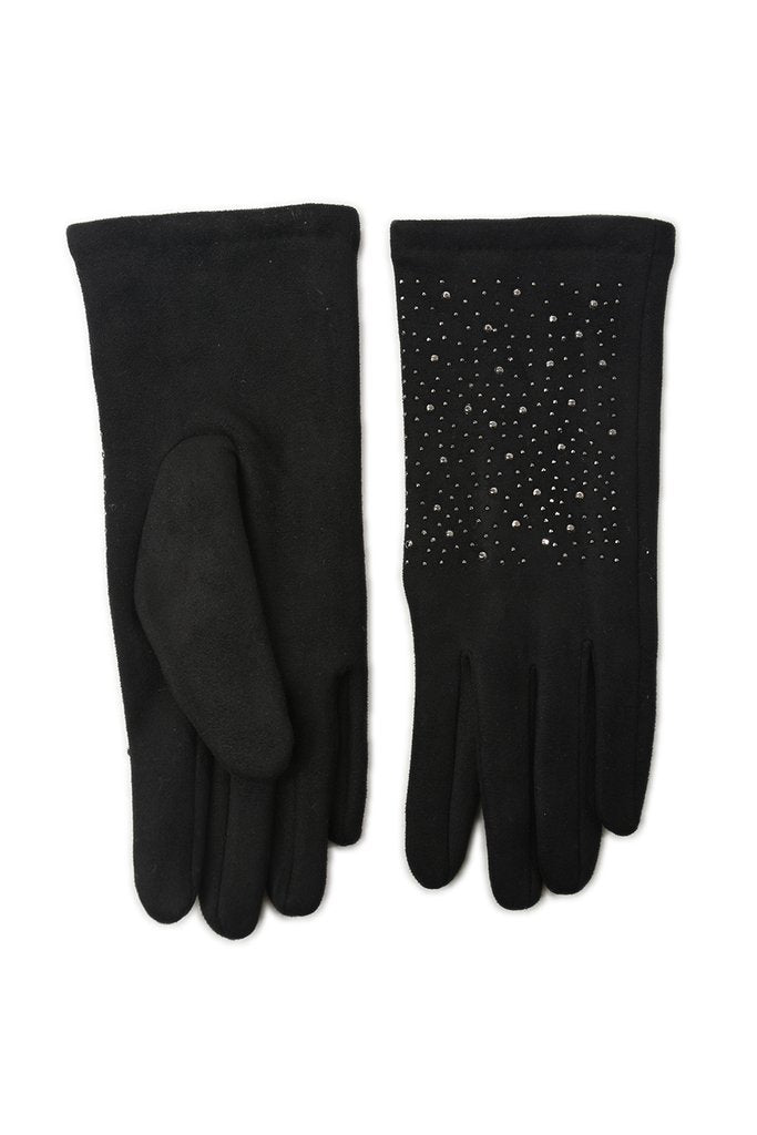 Gloves With Stud Detail - Black