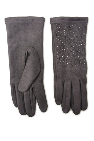 Gloves With Stud Detail - Gark Grey