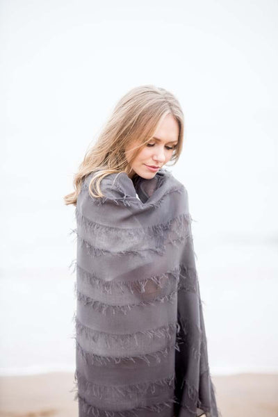 Dark Grey Fringed Scarf