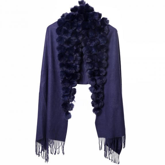 Navy wrap with navy fur pompoms and tassels