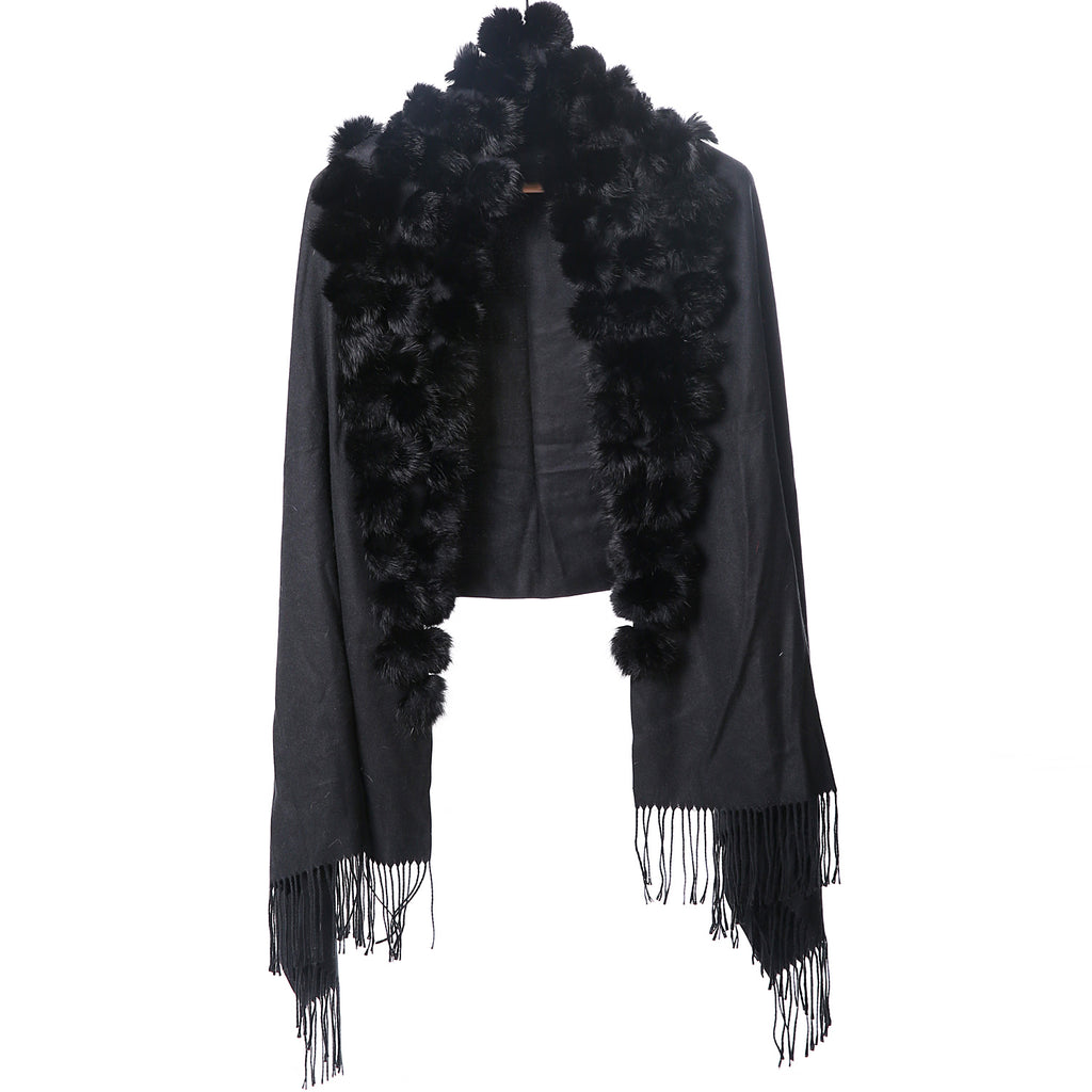 Black wrap with black fur pompoms and tassels