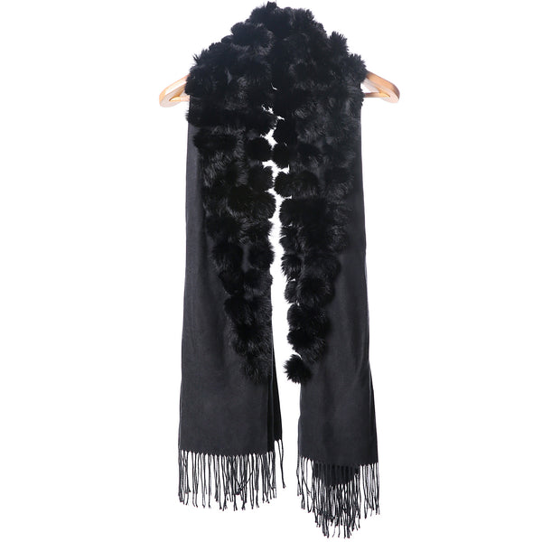 Fur Pom Pom Wrap - Black
