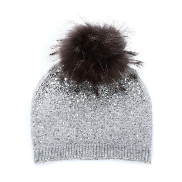Sparkly Cashmere Hat With Fur Pom Pom - Silver