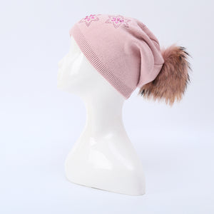 Hat With Fur Pom Pom - Baby Pink