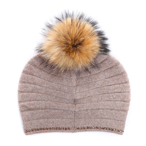 Hat With Fur Pom Pom - Mink