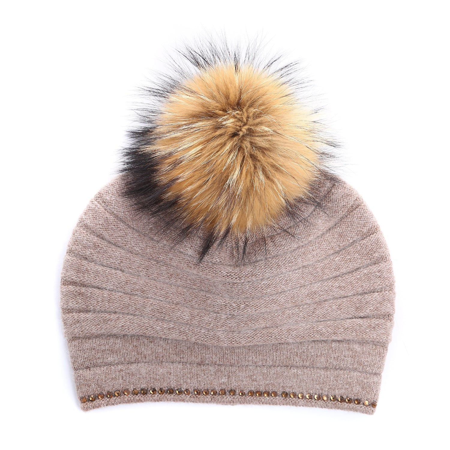 Mink colour hat with brown fur pompom and crystal trim