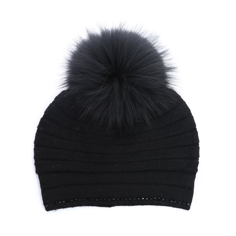 Hat With Fur Pom Pom - Black