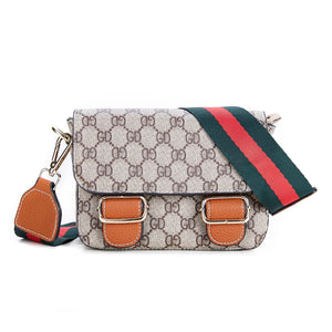 Beige logo handbag with tan clasps and red and green striped strap