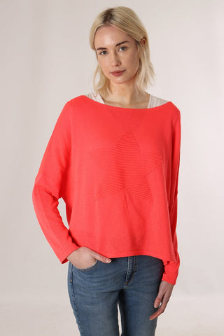 Coral Jumper With Raised Star Motif
