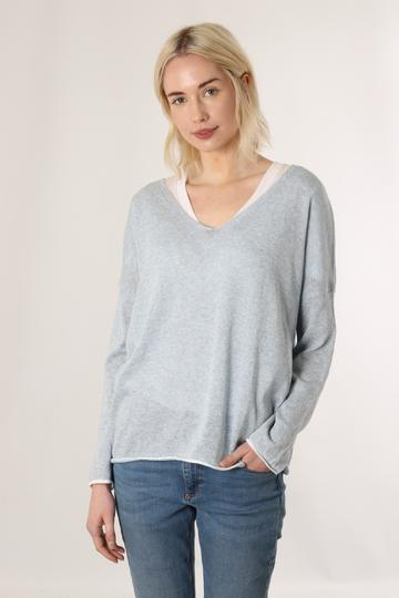 Cotton Jumper With Edging and Stripe - Various Colours