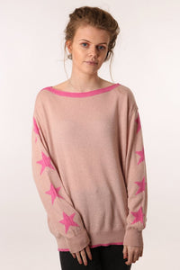 Light pink cashmere blend jumper with dark pink stars on sleeves and