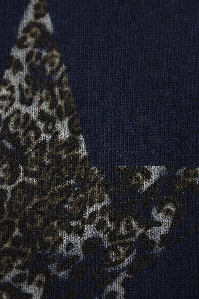 Leopard Star Cashmere Blend Jumper - Navy Blue