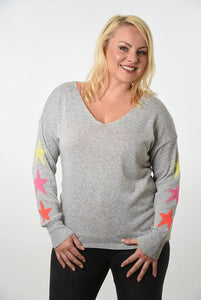 Light grey cotton v neck jumper with three fluoro stars on sleeves