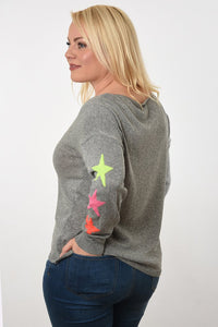 Mid grey v neck cotton jumper with three fluoro stars on sleeves