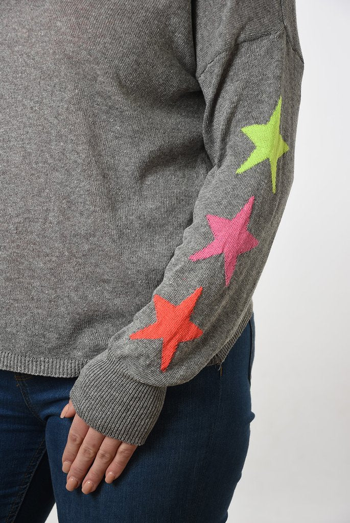 Cotton Jumper With Star Motif Sleeves - Various Colours
