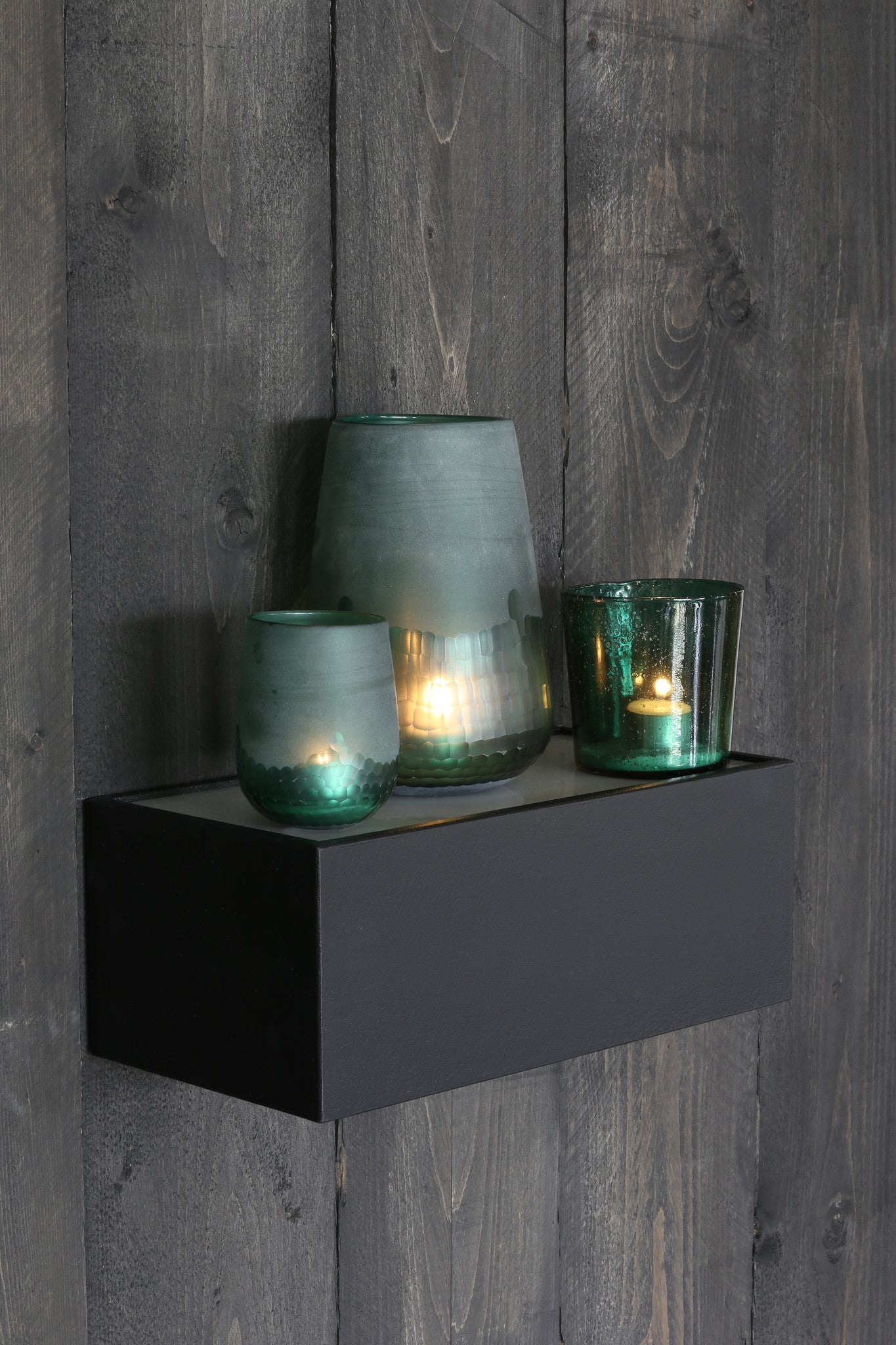 Green Glass Tealight Holder/Lantern/Vase