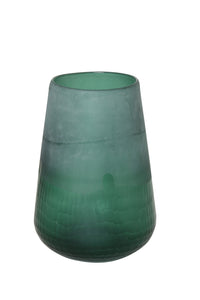 Green glass tapered shaped vase with textured lower half