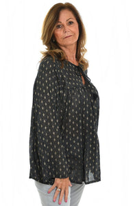 Black tunic top with metallic diamond pattern